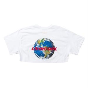 LIVINCOOL WORLD LOGO WHITE CROP TOP