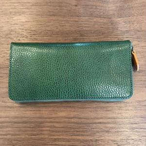 薄型ラウンドジップ長財布 緑×黄