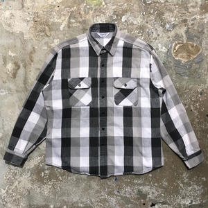 ~80's FIVE BROTHER Heavy Flannel Shirt BLACK×WHITE