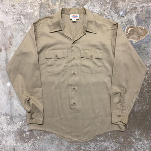 90's Dickies L/S Work Shirt KHAKI
