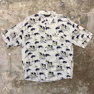 Pontresina Rayon Aloha Shirt WHITE