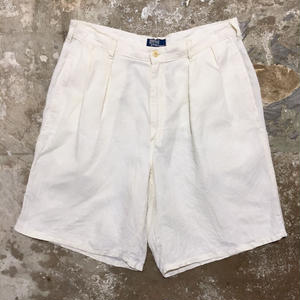 90's Polo Ralph Lauren Two Tuck Linen Shorts OFF WHITE W 34