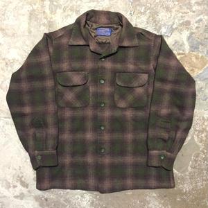 50's PENDLETON Wool Board Shirt BROWN×GREEN