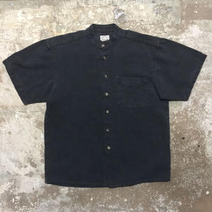 Linen Cotton Band Collar Shirt