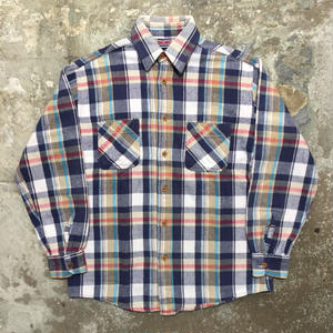 80's BIG MAC Heavy Flannel Shirt NAVY×WHITE