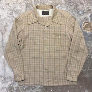 70's PENDLETON Wool Board Shirt BEIGE