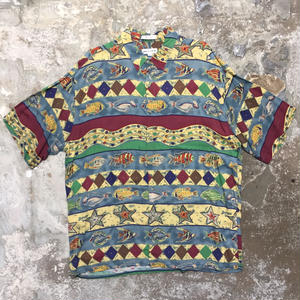 pierre cardin Rayon Aloha Shirt  STRIPED FISH