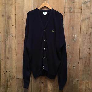 80's IZOD LACOSTE Acrylic Knit Cardigan NAVY SIZE : XL