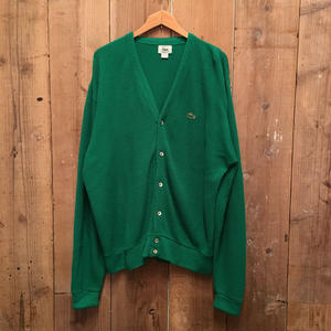 80's IZOD LACOSTE Acrylic Knit Cardigan GREEN SIZE : L
