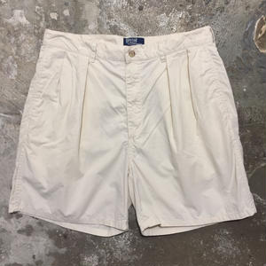 90's Polo Ralph Lauren Two Tuck Chino Shorts L.BEIGE W 34