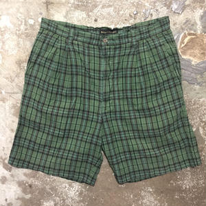 90's~ BANANA REPUBLIC Two Tuck Plaid Cotton Shorts W: 35