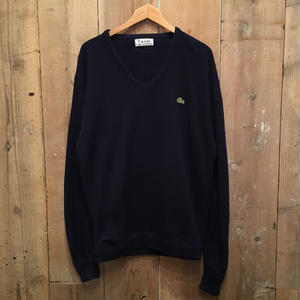 70's IZOD LACOSTE Acrylic Knit U-Neck Sweater NAVY