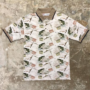 American Summer Fish Patterned Polo Shirt