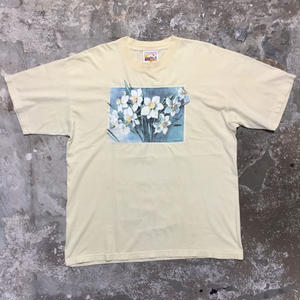 90's ARTISTIC ORANGE LABELS Flower Tee