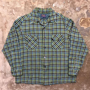60's PENDLETON Wool Board Shirt BLUE×GREEN×NAVY