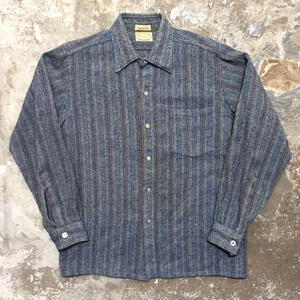 60's Stephens Brothers Wool Shirt NAVY×RED