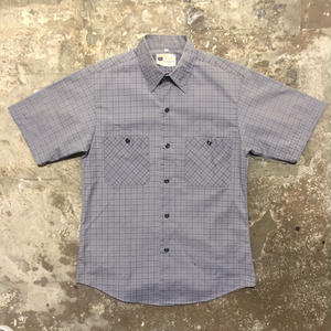 80's Sears PERMA PREST S/S Plaid Shirt GRAY