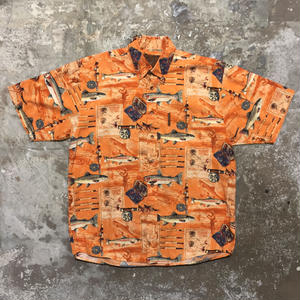 NORTH RIVER Fish Patterned B.D Shirt ORANGE