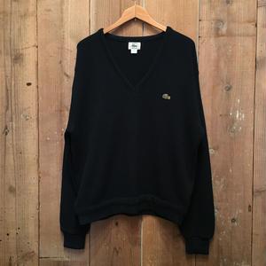 80's IZOD LACOSTE Acrylic Knit V-Neck Sweater NAVY