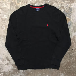 Polo Ralph Lauren L/S Waffle T-Shirt BLACK ×RED