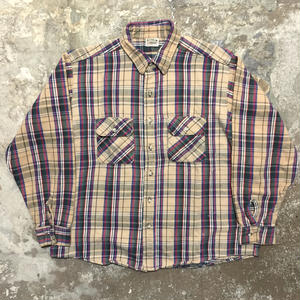 90's FIVE BROTHER Heavy Flannel Shirt BEIGE