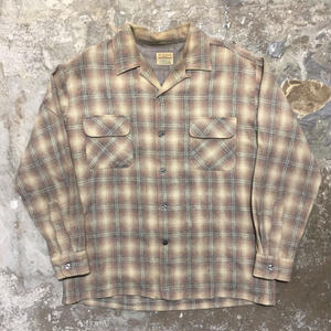60's WOODSMAN Wool Board Shirt BEIGE×GREY