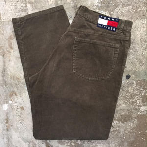 90's TOMMY HILFIGER 5-Pocket Corduroy Pants OLIVE W : 32