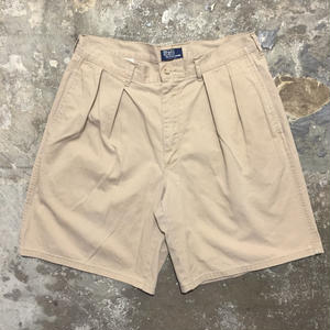90's Polo Ralph Lauren Cotton Two Tuck Shorts BEIGE W: 34
