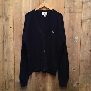 70's IZOD LACOSTE Acrylic Knit Cardigan NAVY SIZE : L