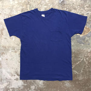 80's FRUIT OF THE LOOM Plain Pocket Tee NAVY