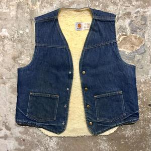 80's Carhartt Boa Lined Denim Vest