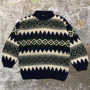 90's EARTH RAGZ Hand Knit Wool Sweater