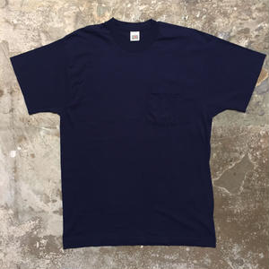 80's FRUIT OF THE LOOM Plain Pocket Tee DARK NAVY