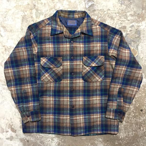 70's PENDLETON Wool Board Shirt BLUE×GREY