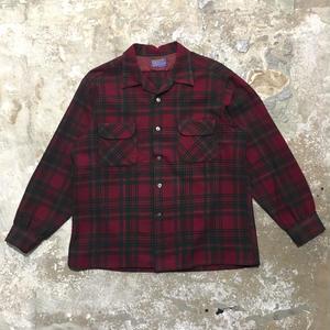60's PENDLETON Wool Board Shirt BURGUNDY×GREEN