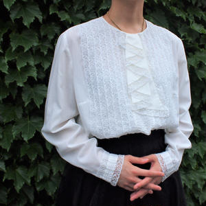 White lace cascade blouse