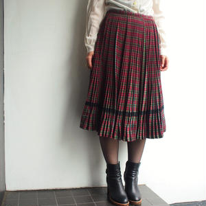 1940's1950' s Red plaid  pleats skirt