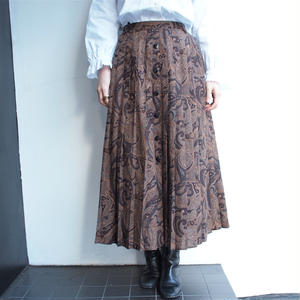 Brown paisley pleats skirt