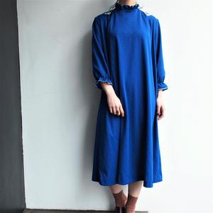 1970's Stand collar blue dress