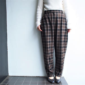 Made in France wool plaid brown pants