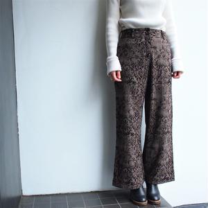 Flocky ×glen check brown wide pants