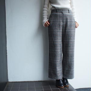 Glen check wool wide pants