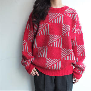 Fabric in Norway red knit