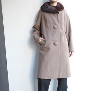 Mink collar long coat