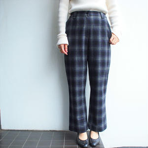 Black ×Gray plaid wool pants