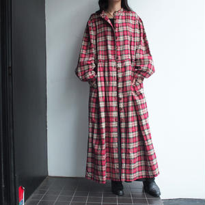 Red plaid one-piece gown