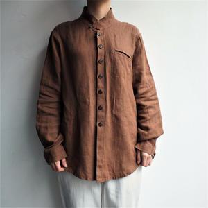 Linen Stand collar brown blouse