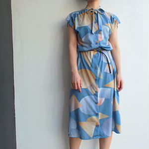 French sleeve Ribbon tai onepiece