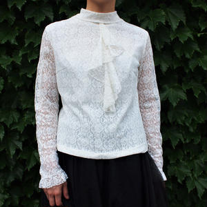 Lace Stand collar cascade  blouse
