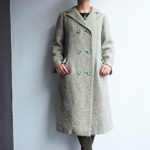 Light blue double-breasted wool coat